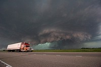 A semi pases a tornadic supercell just east of Kearney, Nebraska on Interstate 80, May 29, 2008  Shot from exit of interstate 80