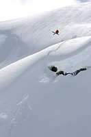 Skier Cornice, Whistler, BC, Canada