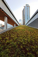 A portion of the Green living roof on the new Convention Centre on the Coal Harbour waterfront in downtown Vancouver British Columbia Canada.