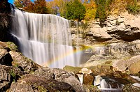 Rainbow over Webster´s Falls. Waterfall in Dundas, Hamilton, Ontario, Canada.