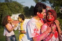 Friends celebrating Holi