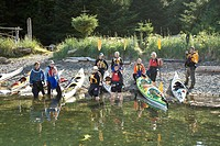 A group of senior ladies paddling together with West Coast Expeditions, explore the Kyuquot Sound area from Spring Island. Spring Island, Kyuquot Soun...