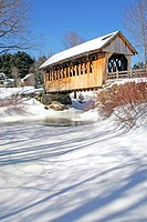 Covered bridge Cilleyville Bog bridge New Hampshire New England USA winter snow river frozen