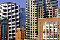 Skyline financial district Boston Massachusetts USA New England modern buildings contrast architecture city business