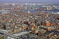 Boston historic North End neighborhood and beyond skyline aerial steeple Old North Church MA Massachusetts New England USA city