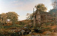 Watermill by Jasper Francis Cropsey, oil on canvas, 1823_1900, USA, Pennsylvania, Philadelphia, David David Gallery, 1849