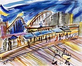 USA, New York City, Coney Island Boardwalk by Richard H. Fox, watercolor on paper, b.1960, 2009
