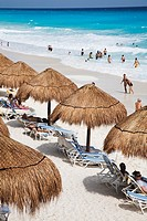 The turquoise waters and white sand beaches of Cancun on the Yucatan Peninsula in Quintana Roo Mexico