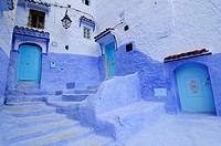 Three blue doorways in the Medina, Chefchaouen, Morocco, North Africa