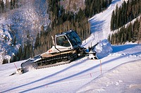 Snowcat grooming ski slopes, Steamboat Springs, Colorado, USA