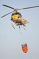 Helicopter fire fighting, Madrid, Spain