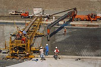 United States, California, Santa Ana, Pouring Concrete for New Highway Roadbed.