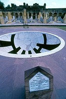 Sundial at the Jantar Mantar observatory, Jaipur, India. This observatory was constructed between 1727 and 1734 by Maharaja Jai Singh II. It consists ...