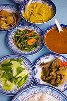 A selection of Malaysian curries at a Malaccan restuarant
