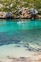 Boat at Es Canutells, Minorca, Balearic Islands, Spain