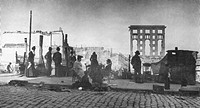 Residents of San Francisco preparing a meal outdoors after San Francisco earthquake of 1906. Thousands of San Franciscans were left homeless after the...