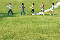 Five people walking on footpath near grass