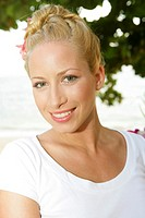sexy young blond woman at holiday in Thailand portrait