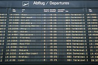 Departure Timetable at Franz Josef Strauss Airport Munich Bavaria Germany