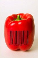 Red bell pepper with barcode superimposed to illustrate genetically modified food