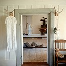 Dress hanging in classical interior