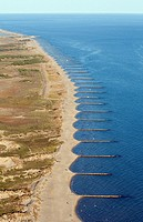 Breakwaters, beach of L'Espiguette, Camargue, Gard, Languedoc-Roussillon, France