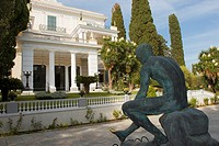 Achilleion palace with the bronze Mercury statue in the foreground  Corfu island, Greece