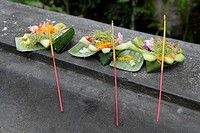Daily offering set for praying, Bali, Indonesia