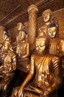Myanmar, Burma, Yangon, Rangoon, Shwedagon Pagoda, Buddha statues