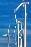 Spinning wind turbines, Rio Vista, California