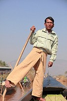 Myanmar, Burma, Inle Lake, leg rower, boatman,
