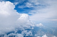 Aerial view off a front of congestus clouds. These kind of clouds are the step of formation cloud beetween Cumulus cloud and Cumulonimbus cloud. South...