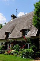 A Thatched Cottage at Barrington, Cambridgeshire, England, UK