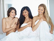 Hot young naked female models smiling