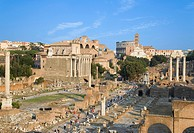 Italy, Rome, Roman Forum and tourists