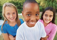 Smiling group of diverse kids