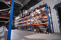Germany, Neukirch, Warehouse storage rack