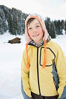 Italy, South Tyrol, Seiseralm, Boy 10_11 portrait, close_up