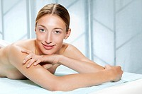 Germany, Bavaria, Munich, Young woman in spa, portrait