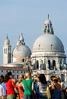 Italy, Venice, Church, Santa Maria della Salute, tourists in foreground