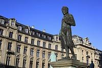 Bronze statue, Soren Kierkegaard, Marble Church, Copenhagen, Denmark
