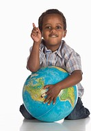 African boy 3_4 holding globe, portrait
