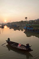 Vietnam, Hoi An, Thu Bon River at Sunrise