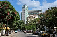 Calle 17 17th Street leading to the Focsa Building built in 1956, Vedado, Havana, Cuba, West Indies, Central America