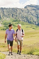 Italy, Seiseralm, Two hikers