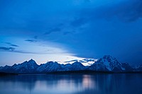 USA, Wyoming, Teton Range, Grand Teton National Park at twilight