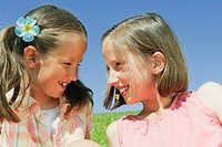 Italy, South Tyrol, Two girls 6_7 10_11 portrait, close_up