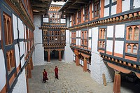 Monks in Jakar Dzong, Castle of the White Bird dating from 1667, Jakar, Bumthang, Chokor Valley, Bhutan, Asia