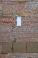 Germany, Bavaria, Munich, Brick wall, closed door, full frame