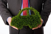 Person holding Car symbol made from grass, close_up